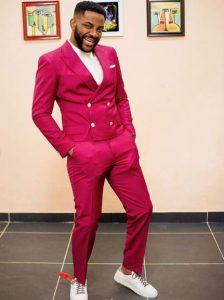guys plain ankara suit style rocked with sneakers, inspired by Ebuka BBNaija