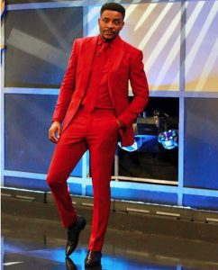 Ebuka looks like a pastor in this plain ankara suit style