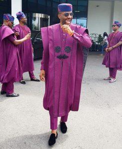ankara senator agbada outfit Ebuka Obi-Uchendu wore to Banky W and Adesua's wedding