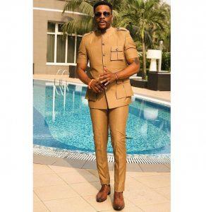 short sleeve guy men's ankara suit style, inspired by Ebuka BBNaija