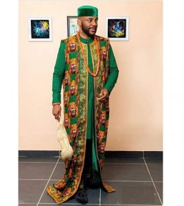superb ankara senator-agbada native isiagu outfit for royalties, inspired by Ebuka