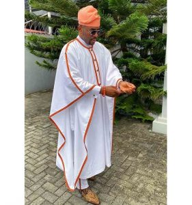 Oba's plain ankara agbada style, inspired by Ebuka BBNaija