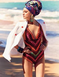 one piece, ankara v-neck swimsuit with coat and hair tie for classy ladies, beach dress style