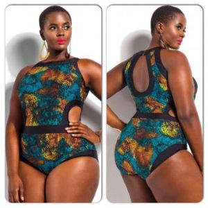 unique, one piece african print swim wear for plus size, curvy young ladies, beach dress style