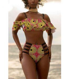 stylish ankara bikini for tall, curvy ladies, beach dress style
