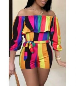 ready made ankara off shoulder pinafore shorts with waist belt for classy young ladies