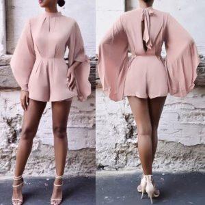 classy ankara palazzo shorts style with hanging sleeves