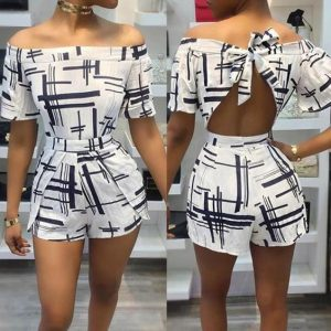back-knotted, off shoulder ankara short palazzo jumpsuit style for slim, curvy ladies