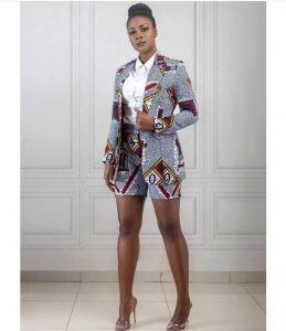 classy high waist ankara short knicker style with long sleeve ankara print suit for elegant ladies