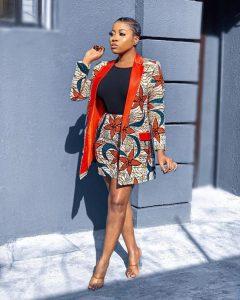 ankara short knicker with long ankara coat, busty ladies fashion style