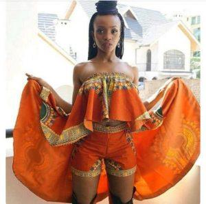 high waist ankara short knicker with stylish off shoulder, sleeveless blouse, ankara carnival fashion style
