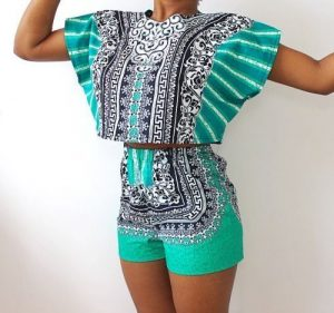 kitenge high waist shorts with stylish crop tops for young ladies