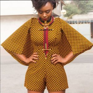 ankara short jumpsuit with hanging sleeves and special neck lace for classy ladies, african print carnival fashion style