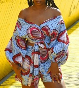 high waist ankara short knicker with off shoulder crop top with long balloon sleeves for ladies