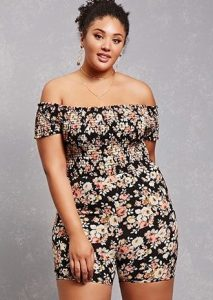 off shoulder ankara short jumpsuit style for young, chubby ladies