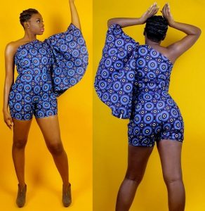one sleeve ankara jumpsuit shorts for young ladies