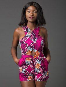 cute short sleeve ankara short jumpsuit for young ladies