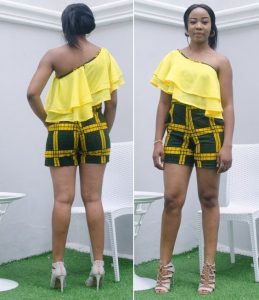 one sleeve with two steps cape ankara shorts pinafore style for cute ladies