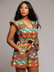 unique ankara shorts with short-sleeve top for busty ladies