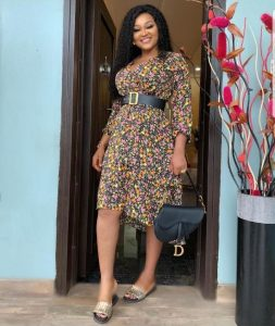 mercy aigbe's cute short ankara gown with belt