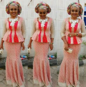 stylish ankara lace long skirt and blouse with gele hair tie for wedding and church