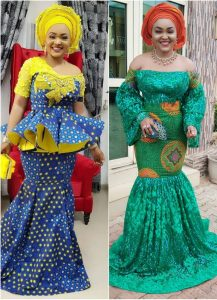 mercy aigbe long skirt and blouse vs long gown style with gele hair tie compared