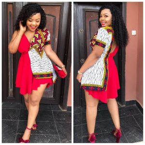 plain and pattern ankara short gown for slay queens