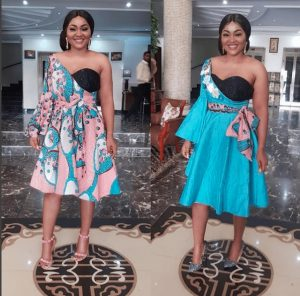 compare these two ankara one sleeve short gown styles