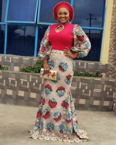 mercy aigbe ankara floral lace long gown style for wedding and church service