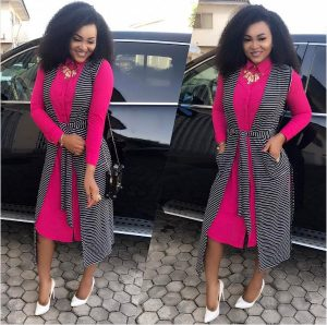 ankara short gown with long coat