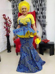 mercy aigbe trending ankara peplum skirt and blouse style