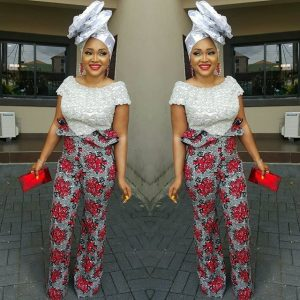 ankara lace blouse with palazzo trousers and big hair tie