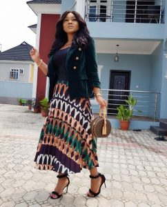 simple ankara long gown with jacket