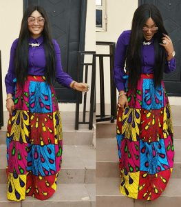 mercy aigbe latest ankara long flay skirt with long sleeve blouse for classy ladies