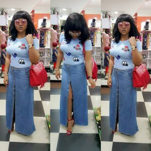 long slit jean skirt with hugging top for ladies