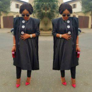 cute plain ankara agbada style for ladies
