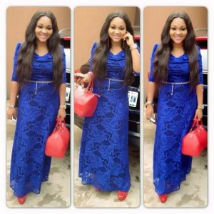long ankara lace gown style from mercy aigbe