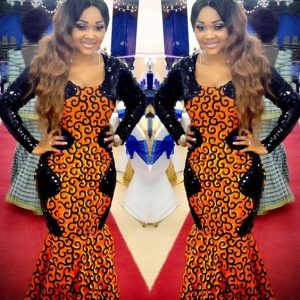 plain and pattern ankara long gown style
