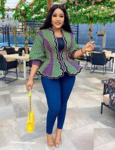 ankara peplum blouse with demin trousers for young ladies