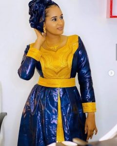 2 piece in one ankara long gown for celebrity ladies, church and wedding style