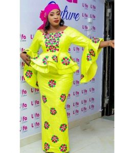 special floral ankara peplum blouse with long skirt for young ladies