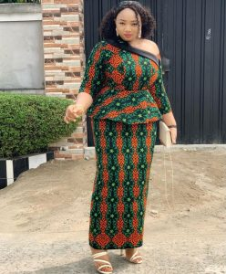 one side off shoulder ankara african print peplum blouse with long skirt style