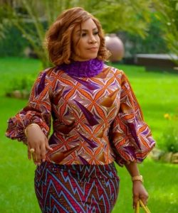 puff sleeved ankara blouse with long skirt for young ladies