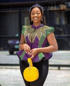 short sleeve ankara peplum blouse with trousers for curvy ladies