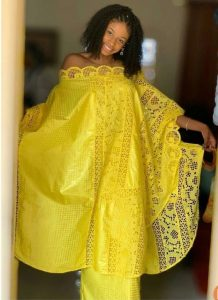 off shoulder ankara lace boubou gown with long skirt
