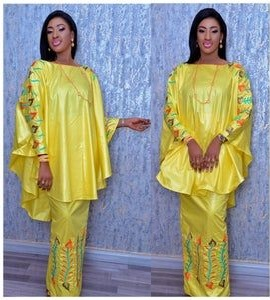 ankara boubou blouse with long skirt for young celebrity ladies