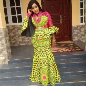 cute ankara blouse with long mermaid skirt for traditional wedding