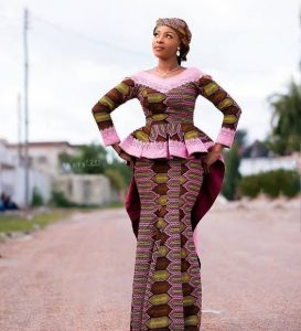 ankara long sleeve peplum blouse with mermaid skirt for young queens