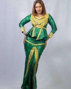 ankara peplum blouse with long mermaid skirt for tall, slim, curvy ladies