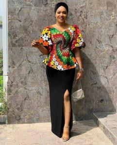 ankara peplum blouse with long split skirt for church and wedding